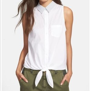 Equipment Mina Button Down Tie Front Top